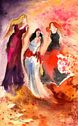Wall Art Drawings - The Three Muses from Paphos by Miki De Goodaboom