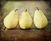 Brown Pears Framed Prints - The Three Pears Framed Print by Lisa Russo