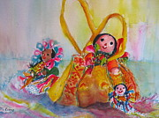 Handcrafted Art - The Three Senoritas by Myra Evans