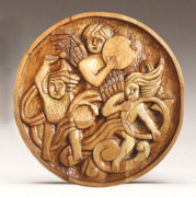 Wood Carving Reliefs - The Three Singing Angels  by James Neill