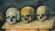 Morbid Skull Framed Prints - The Three Skulls Framed Print by Paul Cezanne