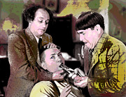 Actors Mixed Media Prints - The Three Stooges Print by Charles Shoup