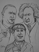 Slapstick Drawings - The Three Stooges by Pete Maier