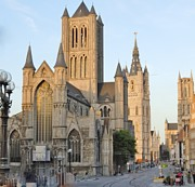 Europe Photo Prints - The Three Towers of Gent Print by Marilyn Dunlap