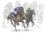 Thoroughbred Drawings - The Thunder of Hooves - Horse Racing Print Color by Kelli Swan