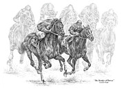 Thoroughbred Drawings - The Thunder of Hooves - Horse Racing Print by Kelli Swan
