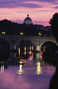 River Scenes Posters - The Tiber River And The Dome Of St Poster by Richard Nowitz