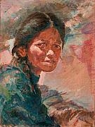 Tibet Painting Framed Prints - The Tibetan Girl Framed Print by Ellen Dreibelbis