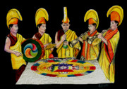Monastery Mixed Media - The Tibetan Monks at Lilydale Assembly by Albert Puskaric