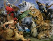 Animal Painting Prints - The Tiger Hunt Print by Rubens