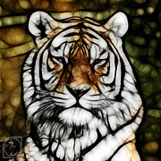 Wild Life Mixed Media Metal Prints - The Tiger Metal Print by The DigArtisT