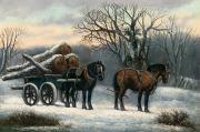 Snow Horses Framed Prints - The Timber Wagon in Winter Framed Print by Anonymous