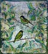 Green Tapestries - Textiles Posters - The Time Of Singing Birds Poster by Carolyn Doe