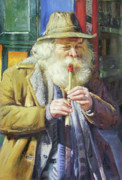 Old Man With Beard Prints - The Tin Whistle Print by Conor McGuire