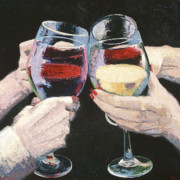Wine Oil Posters - The Toast Number One  Poster by Christopher Mize