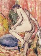 Lady Pastels Posters - The Toilet Poster by Edgar Degas