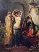 Orientalist Painting Framed Prints - The Toilet in the Seraglio Framed Print by Theodore Chasseriau