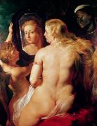 Mirror Reflection Posters - The Toilet of Venus Poster by Peter Paul Rubens