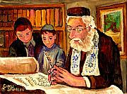 Scribe Paintings - The Torah Scribe by Carole Spandau