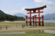 Miyajima Framed Prints - The Torii at low tide at Itsukushima Shrine Miyajima Japan  Framed Print by Andy Smy