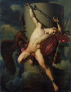 Mythological Painting Prints - The Torture of Prometheus Print by Jean-Louis-Cesar Lair