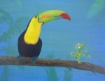 Toucan Paintings - The Toucan and the Lizard by Robin Wiesneth