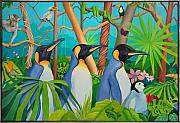 Penguins Prints - The Tourists Print by Robert Lacy