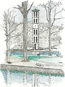 Pointillism Art - The Tower at Furman by Donald Yeomans
