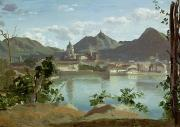 Hills Paintings - The Town and Lake Como by Jean Baptiste Camille Corot