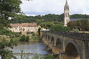 Aquitaine Framed Prints - The Town Of Lalinde On The Dordogne River, Dordogne, Aquitaine, France Framed Print by Fraser Hall