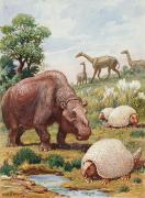 National Geographic Society Art Prints - The Toxodon, Glyptodon Print by Charles R. Knight