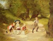 Kids Toys Paintings - The Toy Carriage by Harry Brooker