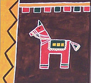 Indian Tribal Art Paintings - The Toy Horse by Anu Darbha