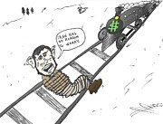 Presidential Mixed Media - The train heads for Mahmoud Ahmedinajad caricature by OptionsClick BlogArt