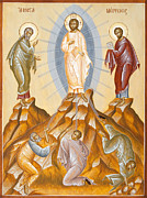Byzantine Painting Framed Prints - The Transfiguration of Christ Framed Print by Julia Bridget Hayes