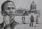 Barack Obama Drawings Acrylic Prints - The Transition Acrylic Print by Arnold Hurley