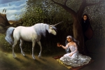 Unicorn Paintings - The Trap by Jane Whiting Chrzanoska