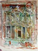 Treasury Paintings - The Treasury Petra by Mike Shepley DA Edin