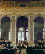Ww1 Paintings - The Treaty of Versailles by Sir William Orpen