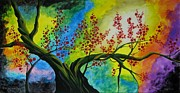 Colors Glass Art Prints - The tree Print by Betta Artusi