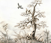 Gloomy Painting Prints - The Tree Print by Bjorn Eek