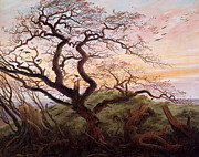 On A Branch Paintings - The Tree of Crows by Caspar David Friedrich