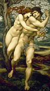 Sensual Lovers Paintings - The Tree of Forgiveness by Sir Edward Burne-Jones