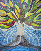 Religious Mosaic Mixed Media Prints - The Tree of Life Print by Claudia French