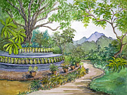 Southeast Asia Paintings - The Tree of Life in Nirvana Park by Bonnie Sue Schwartz