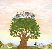 Apple Tree Drawings Posters - The Tree Party Poster by SiSter Art