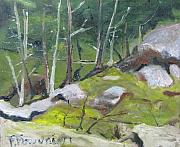 Francois Fournier Paintings - The Trees On The Rocky Slope by Francois Fournier