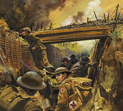 Ww1 Paintings - The Trenches by Andrew Howat