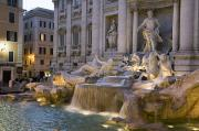 Image Type Prints - The Trevi Fountain At Dusk Print by Scott S. Warren