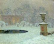 Winter Scene Metal Prints - The Trianon Under Snow Metal Print by Henri Eugene Augustin Le Sidaner